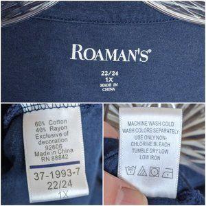 Roaman's Tops - Roaman's Blouse Dark Blue Peasant Top Boho Hippie